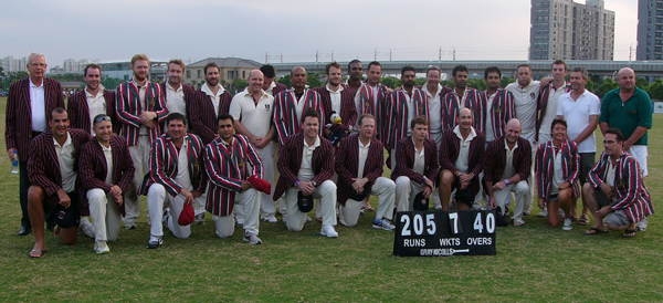 Shanghai CC and Hong Kong CC following the Bokhara Bell Interport Match on September 14, 2013. Hong Kong won by 3 wickets.